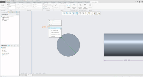 Creo Parametric Tip: How to Convert a Diameter Dimension to a Linear Dimension in a Drawing