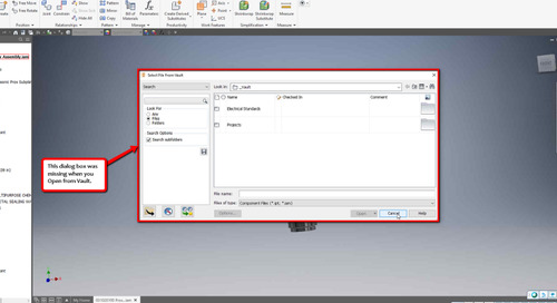 No Vault check out dialog box in Inventor