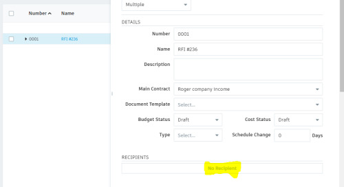 BIM 360 – Cost Management recipient greyed out