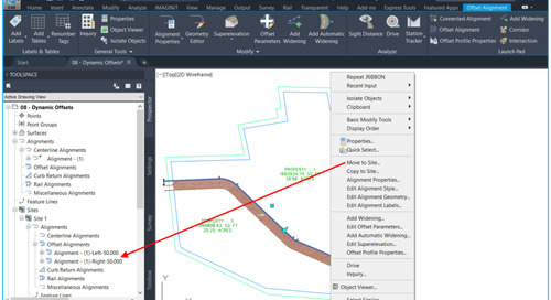 Civil 3D: Dynamic ROW & Easements using Offset Alignments