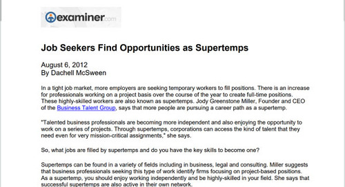 Job Seekers Find Opportunities as Supertemps