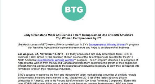 Jody Miller Earns Spot in EY's Entrepreneurial Winning Women Program