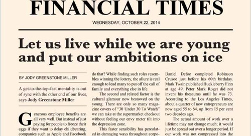 Let Us Live While We Are Young and Put Our Ambitions on Ice