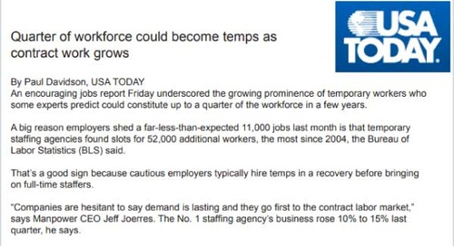 Quarter of Workforce Could Become Temps as Contract Work Grows