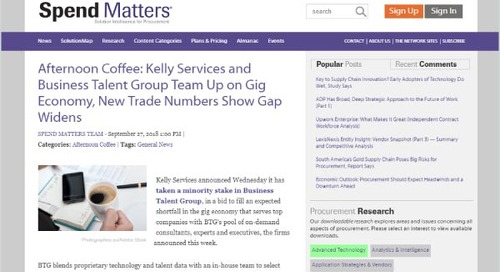 Afternoon Coffee: Kelly Services and Business Talent Group Team Up on Gig Economy
