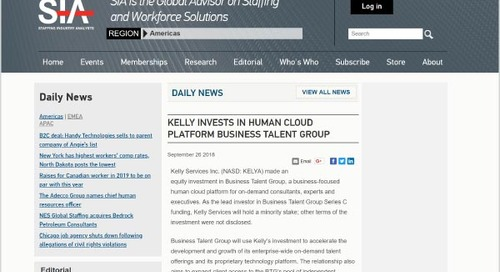 Kelly Invests in Human Cloud Platform Business Talent Group