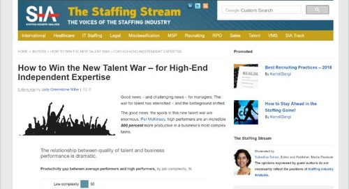 How to Win the New Talent War – for High-End Independent Expertise