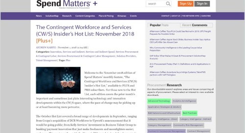 The Contingent Workforce and Services (CW/S) Insider's Hot List: November 2018