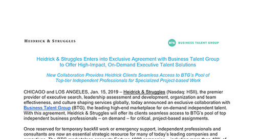 Heidrick & Struggles Enters into Exclusive Agreement with Business Talent Group