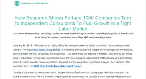 New Research Shows Fortune 1000 Companies Turn to Independent Consultants to Fuel Growth in a Tight Labor Market