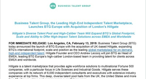 Business Talent Group Launches BTG Europe with Acquisition of London's Hillgate