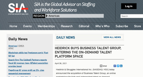 Staffing Industry Analysts on Heidrick & Struggles' Acquisition of BTG
