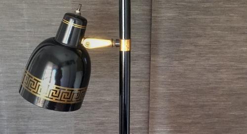 BAZAAR: A Greek Key Pole Lamp, Brand New Anthro Mirror, Python Print Lounge Chair & More!