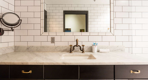 This Big Bathroom Trend Turns Traditional Subway Tile on Its Head