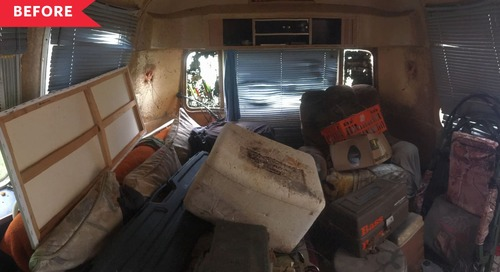 Before & After: An Abandoned Airstream Turned Warm Tiny Home on Wheels