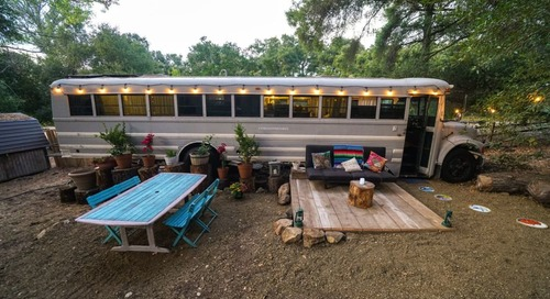 This Cali-Cool Converted School Bus Sleeps 4—And You Can Rent It