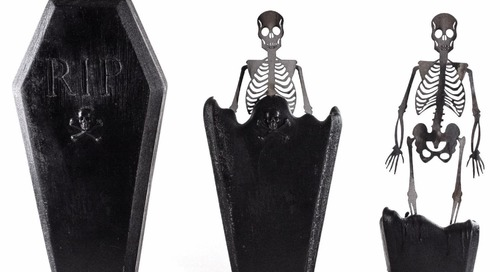This Doubly Creepy Coffin-Shaped Candle Melts to Reveal a Skeleton Inside