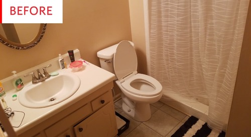 Before and After: Faux Tile and Marble Helped Give This Basic Bathroom a $200 Facelift