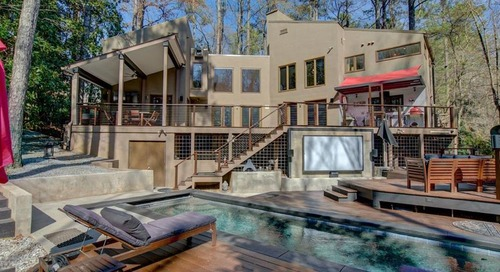 Stucco-clad 1970s contemporary is party central in Buckhead at $1.37M