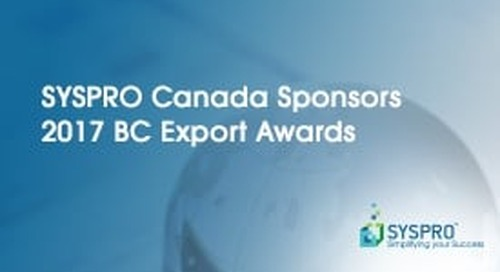 SYSPRO Canada Sponsors 2017 BC Export Awards