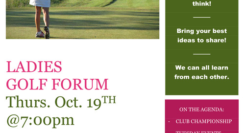 LADIES GOLF FORUM ~ Thurs. Oct. 19TH