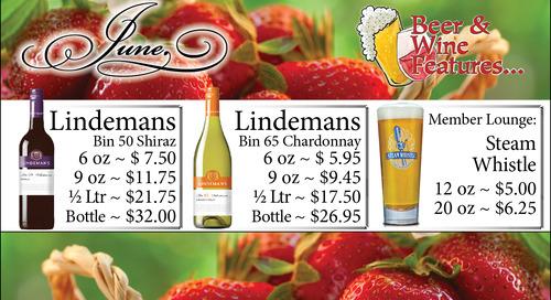 June Beer and Wine Specials