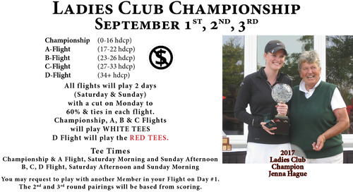 Ladies Club Championship ~ Sept. 1,2,3