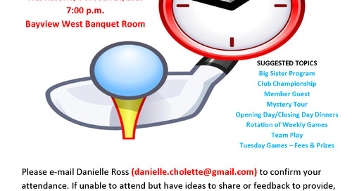 Ladies GOLF FORUM ~ WED. OCTOBER 24 at 7:00 pm