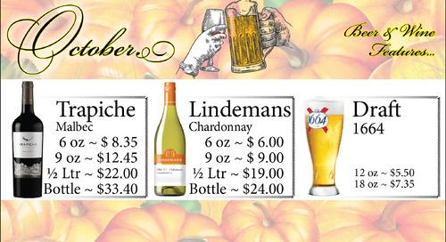 Beer and Wine Specials ~ October
