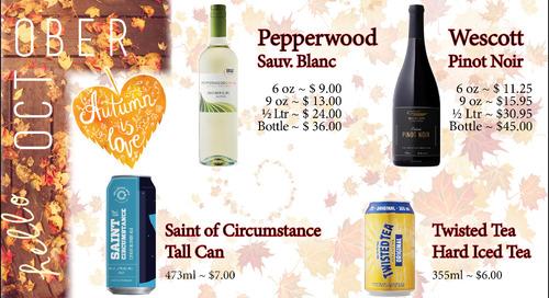 October Beer and Wine Specials