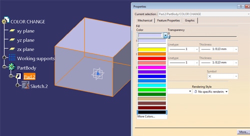 Changing the Color of Parts, Features & Faces in CATIA