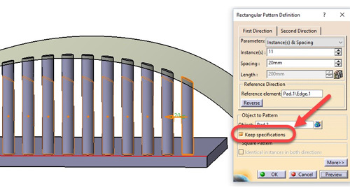 "Pattern Problems Part 1: The benefit of ""Keep specifications"" and its limitations in CATIA V5"