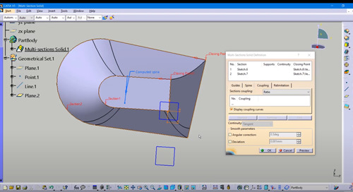 Tech Tip: CATIA V5 Coupling Options for Multi-Section Solids