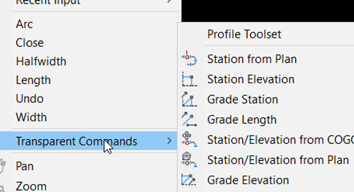 Using the new Transparent Commands tab in Civil 3D (2019.2)