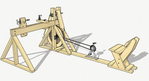 A pedal-powered lathe in SketchUp