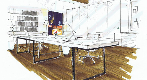 Michelle Morelan's hybrid drawings for interior design