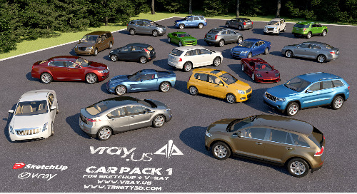 New Car Pack 1 by Trinity3D for SketchUp & V-Ray Demo