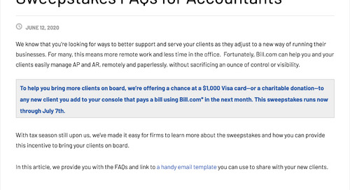 Sweepstakes FAQs for Accountants