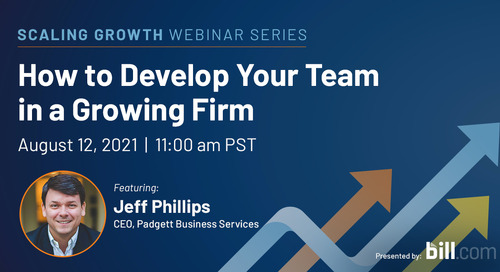 August 12 | 11:00 am PST: How to Develop Your Team in a Growing Firm