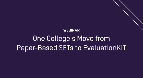 One College's Move from Paper-Based SETs to EvaluationKIT by Watermark
