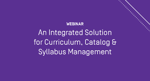 An Integrated Solution for Curriculum, Catalog, and Syllabus Management