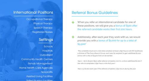 ES Healthcare International Referral Bonus Program