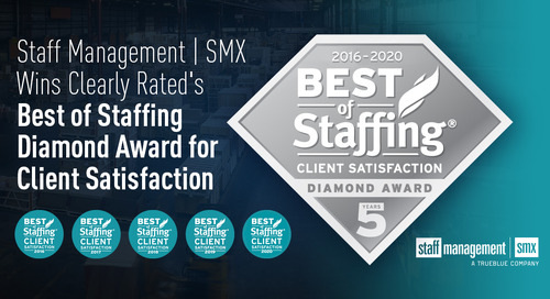 Staff Management | SMX Recognized by Clients for Service Excellence with ClearlyRated 2020 Best of Staffing Client Diamond Award