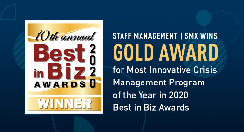 Staff Management | SMX Wins Gold Award for Most Innovative Crisis Management Program of the Year in 2020 Best in Biz Awards