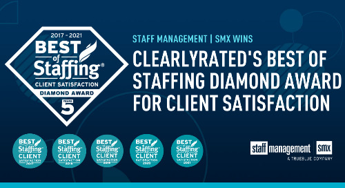 Staff Management | SMX Wins ClearlyRated 2021 Best of Staffing Diamond Client Award