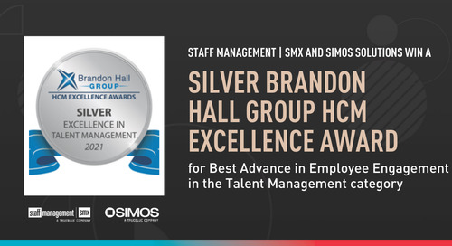 Staff Management | SMX and SIMOS Solutions win silver Brandon Hall Group HCM Excellence Award