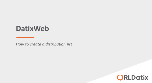 DatixWeb: Creating a distribution list