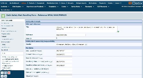 RLDatix - DatixWeb Safety Alerts Module Guide