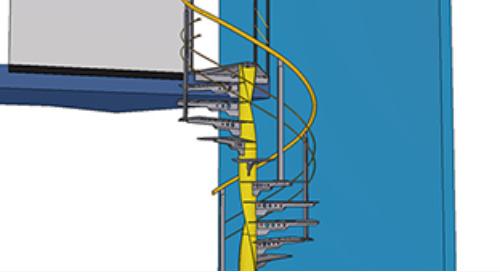 Un escalier hélicoïdal réalisé avec Tekla Structures