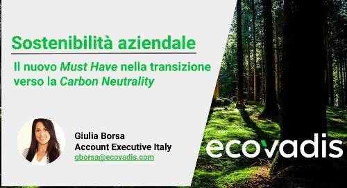 [Adaci Fucina] Sostenibilità aziendale, il nuovo must have nella transizione verso la carbon neutrality